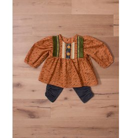 Peaches 'n Cream Pumpkin Orange Top with Arrow Pattern Green Fringe Wooden Buttons and Dark Denim Leggings
