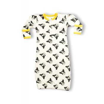 Cat and Dogma Boston Terrier Printed Gown 0-6M