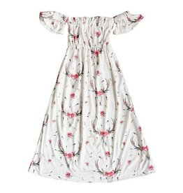 Baileys Blossoms Bohemian Rose Skull Cold Shoulder Dress