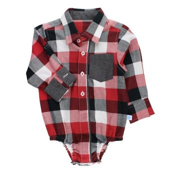 Rugged Butts Red, White & Black Plaid Button-Up Bodysuit