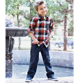 Rugged Butts Red, White & Black Plaid Button Down