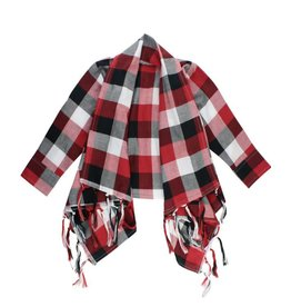 RuffleButts Red, White & Black Plaid Drape Front Cardigan