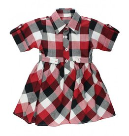 RuffleButts Red, White & Black Plaid Babydoll Dress