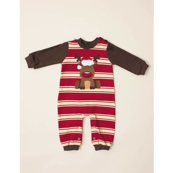 Wally & Willie Red Nose Rudolf Striped Coverall