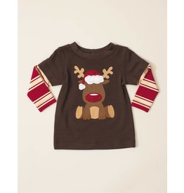 Wally & Willie Red Nose Rudolf Striped Shirt