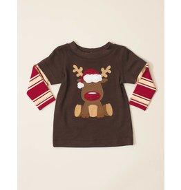 Wally & Willie Red Nose Rudolf Striped Shirt