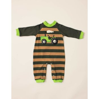 Wally & Willie Green Striped Tractor Coverall