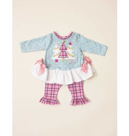 Molly & Millie Vintage Princess Plaid Tree Tunic Set