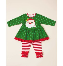 Molly & Millie Jolly Green Santa Tunic Set
