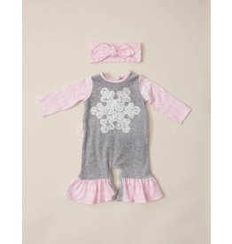 Peaches 'n Cream Heather  Grey And Pink Snowflake Romper