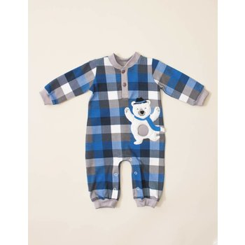 Wally & Willie Arctic the Dancing Bear Plaid Coverall