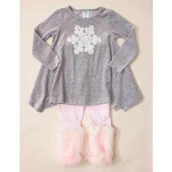 Peaches 'n Cream Heather Grey And Pink Snowflake Tunic And Legging Set
