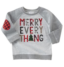 Mud Pie Merry Everything Plaid Elbow Patch Sweatshirt