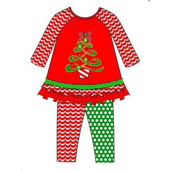 Rare Editions Red/Green Mixed Match Pant Tree Applique