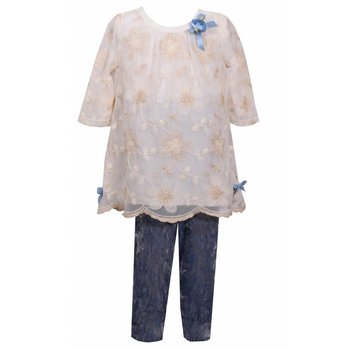 Bonnie Jean Ivory Lace Floral Shirt with Blue Swade Leggings