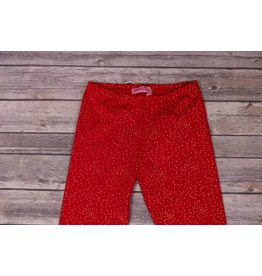 Haven Girl Red Leggings with Small Gold Polka Dots