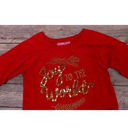 Haven Girl Joy To The World Red Raglan Shirt