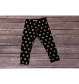 Haven Girl Black Leggings with Gold Polka Dots