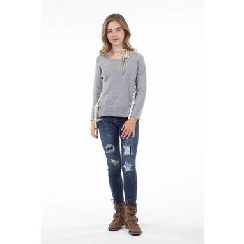 PP LA Half Gray and Cream Sweater Tunic