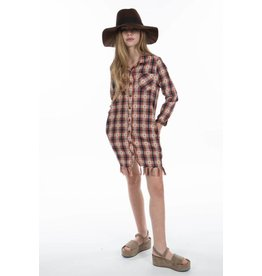 PP LA Plaid Button Down Fringe Duster