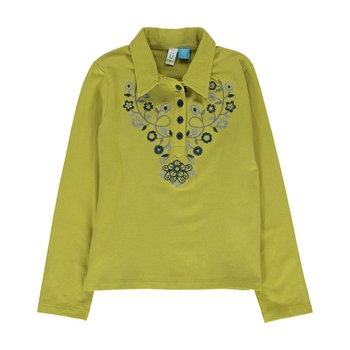 Blu by Blu Pear Green Long Sleeve Collared Top with Embroidery