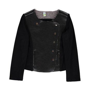 Blu by Blu Back Leather Front Stretch Long Sleeve Jacket