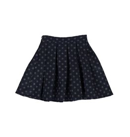 Blu by Blu Blue Skirt with Gray Polka Dot