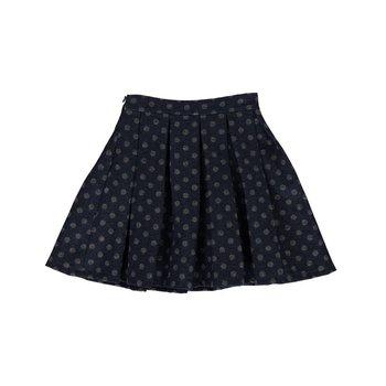 Blu by Blu Blue Skirt with Gray Polka Dot