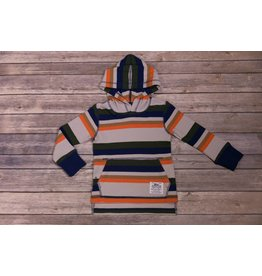 Bit'z Kids Blue/Brown/Orange Stripe Hooded Thermal Tee