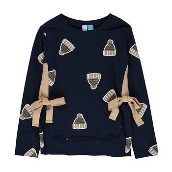 Blu by Blu Dark Cobalt shirt with Knit hat print