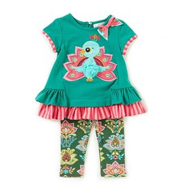 Rare Editions Peacock Pom Pom Tunic and Legging Set