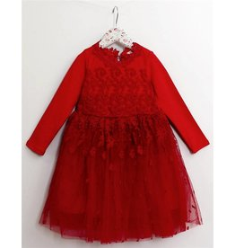 Mae Li Rose Long Sleeve Red Floral Lace Dress