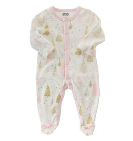Mud Pie Sparkliest Christmas Tree Pink Button Down Footed Sleeper