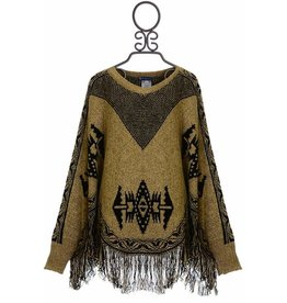 Truly Me Sweater Poncho with Navajo Print