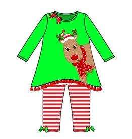 Green Red White Reindeer Legging Set
