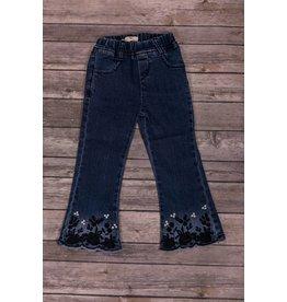 Mae Li Rose Navy Floral Hem Jeans