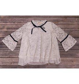 Mae Li Rose White Lace Bell Sleeve Tunic