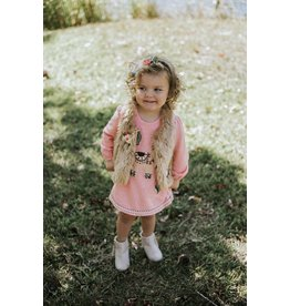 Baby Sara Brown Faux Fur Vest with Embroidery Flowers