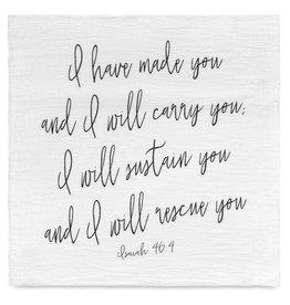 Modern Burlap Organic Blanket Isaiah 46:4