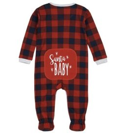 Petit Lem Santa Baby Buffalo Plaid Footie