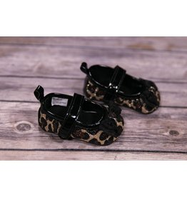 Laura Ashley Black Leopard Shine Girl Shoes