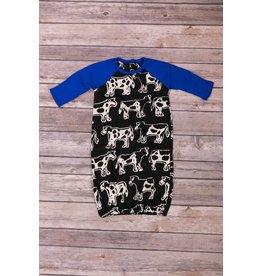koko-nut Milk Boys Cow Printed Long Sleeve Gown NB