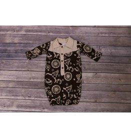 koko-nut Milk Brown Collared Rodeo Printed Gown NB