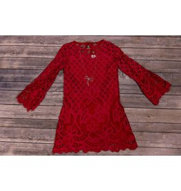 Rare Editions Red Lace Shift Dress with Jewel Necklace
