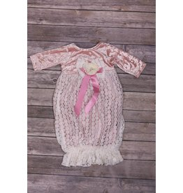 CachCach Dusty Rose Velvet and White Eyelet Lace Gown 0-3M