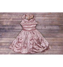 Bonnie Jean Purple Velvet Dress with Sequins Waist Accents