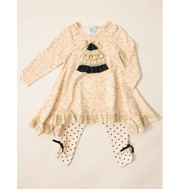 Peaches 'n Cream Black And Ivory Damask Christmas Tunic And Legging Set