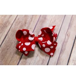 Wee Ones Red And White Polka Dot Glitter Bow