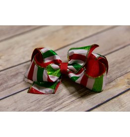 Wee Ones Medium Red And Green Glitter Candy Cane Bow