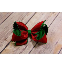 Wee Ones Red And Green Pom Pom Bow